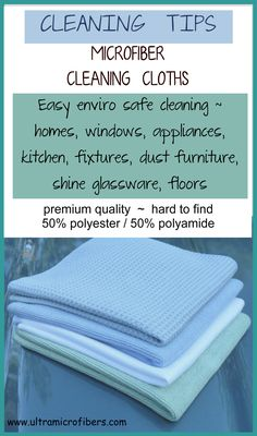 cleaning tips, for microfiber cloths. How to maximize your use of your cloths. For tips  specials visit http://www.ultramicrofibers.com/How-To-Use-Microfiber  (cloths in pic 4 for $48)