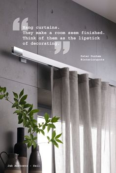Wave curtain on contemporary track Wave Curtains, Drapes And Blinds, Hanging Curtains, Curtain Styles, Curtain Designs, Interior Design Quotes, Home Interior Design, Window Coverings, Window Treatments
