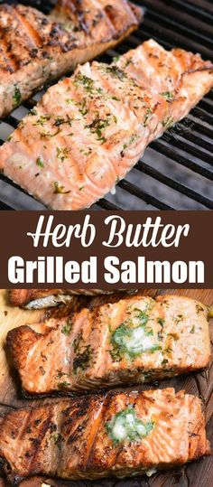 Grilled salmon is a perfect summer dinner recipe that takes only about 30 minutes to prepare. Juicy, flaky salmon fillets are cooked with herb butter on the grilled. Salmon Steak Recipes, Seafood Recipes, Cooking Recipes, Healthy Recipes, Recipe For Grilled Salmon, Summer Salmon Recipe, Fish Recipes, Cooking Tips, Chicken Recipes