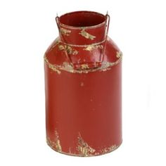 Ally - these could be in your colors....... Red Milk Can Metal Vase | Kirklands