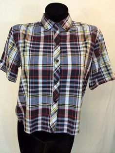 Vintage Short Sleeved Plaid Shirt by InTheRoughFashion on Etsy