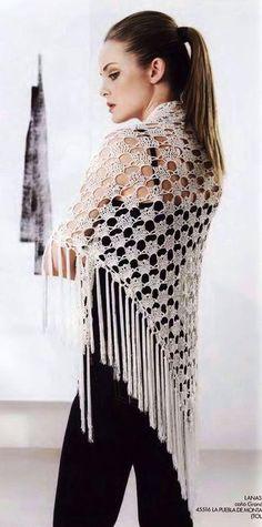 Ivory Frings Shawl free crochet graph pattern