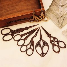 Retro scissors / 13 patterns / vintage scissors / DIY crafting scissors / 145. $8.00, via Etsy. So beautiful! I want the beetle shaped one so bad