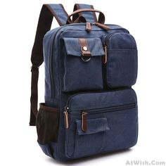 4e2f2e636a24 Retro School Canvas Laptop Backpack Brown Large Capacity Multi-pocketed  Outdoor Travel Backpack