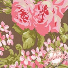 """Pirouette PWVM090-MOCHA by Verna Mosquera for FreeSpirit Fabrics: Pirouette by Verna Mosquera for FreeSpirit Fabrics.  100% cotton, 43""""/44"""" wide.  This fabric features large rose florals and scrolls on a mocha background."""