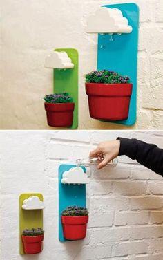 Grappig systeem om plantjes water te geven.