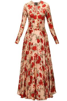 BHUMIKA SHARMA Powder pink and red floral print anarkali set available only at Pernia's Pop-Up Shop. Anarkali Dress, Pakistani Dresses, Indian Dresses, Indian Outfits, Long Anarkali, Lehenga, India Fashion, Ethnic Fashion, Indian Attire