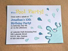 printable watercolor pool party birthday invitation girl birthday
