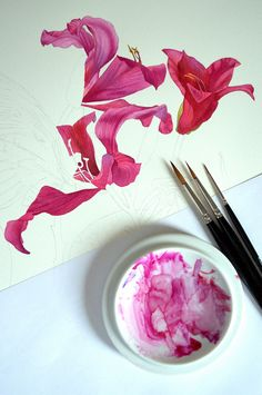 Botanical and Nature Art by Krzysztof Kowalski: Brushes and orchid tree flowers