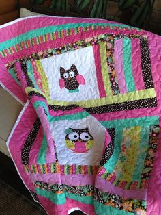 Owl or sock monkey baby girl quilt 50x58 by sewsosweetdesigns, $125.00