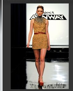 Project Runway/unconventional challenge items from a pet store; He made this dress out of birdseed.