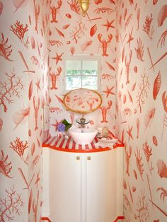 Fun shell and sealife wallpaper, striped basin top - The Knickerbocker Group in Maine