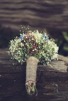 Gypsophila Bouquet Hessian Flowers Bride Bridal Magical DIY Wedding in the Woods with Hand Written Ceremony Vows http://www.thomasthomasphotography.co.uk/
