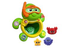 Bath Friends Turtle from Vtech, an interactive bath time toy, this comes with coloured sea creatures and buttons to press.  http://www.goodtoyguide.com/toy/bath-friends-turtle-vtech/?res=WyI5Il0,#