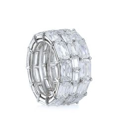 ASHOKA Three-Row Full Diamond Eternity Ring. In platinum with diamonds.