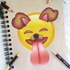 Emoji s draw a dog Cute Easy Drawings, Amazing Drawings, Emoji Drawings, Social Media Art, Emoji Love, Emoji Wallpaper, Disney Art, Cute Wallpapers, Drawing Sketches