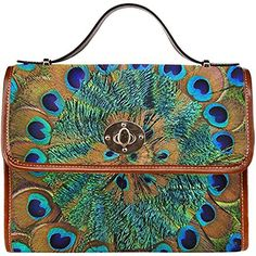 InterestPrint Peacock Womens Waterproof Canvas Tote Shoulder Messenger Crossbody Bag * Check out the image by visiting the link. Peacock Purse, Peacock Jewelry, Business Briefcase, Feather Print, Bag Storage, Evening Bags, Canvas Tote Bags, Bag Accessories, Crossbody Bag