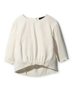 UNTITLED(アンタイトル)の裾シャーリングクルーネック七分袖ブラウス(シャツ/ブラウス)|ホワイト