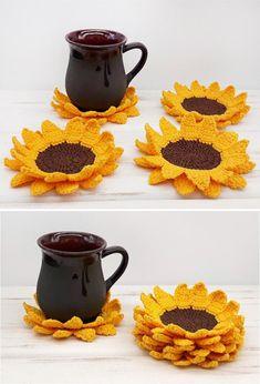 Your Source for HandmadeTutorial (Crochet Knitting Quilting) Crochet Mug Cozy, Crochet Potholders, Knit Or Crochet, Crochet Gifts, Learn To Crochet, Free Crochet, Crochet Sunflower, Crochet Flowers, Crochet Kitchen