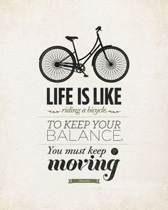 """Life quote typography Wall art - 16x20"""" Archival Print on Matte Canvas - Life is like riding a bicycle quote art. $45.00, via Etsy."""