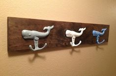 Whale Coat Rack Rustic Towel Hook Towel Rack Cast by LisaMarieDS