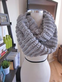 Cozy Light Grey Crochet Infinity Scarf by CrochetaLaMae on Etsy, $30.00