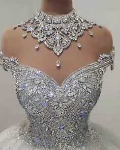 This beautiful Luxury High Neck Crystal Beading Ball Gown Wedding Dresses will make your guests say wow. The bodice is thoughtfully lined, and the skirt with Crystal to provide the airy, flatter look of . Puffy Wedding Dresses, Wedding Dress Pictures, Wedding Dress Styles, Bridal Dresses, Gown Wedding, Maxi Dresses, Fashion Dresses, Pearl Earrings Wedding, Bridal Earrings