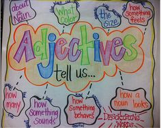 Adjectives tell us…