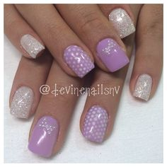 Light Elegance pastel purple gel nails with white diamond glitter and pearls www.facebook.com/NailsByChelsea