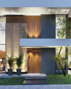 25 Best Outside Wall Art Design Ideas for Exterior Home - Dream House House Wall Design, Stone Wall Design, House Front Design, Modern House Design, Villa Design, Facade Design, Door Design, Exterior Design, Facade Architecture