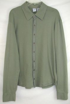 ARMANI EXCHANGE Shirt GREEN Long Sleeve COTTON Luxury BUTTON Up Size XL Men's