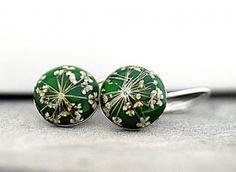 Sterling silver GRASS GREEN Real Flower Earrings
