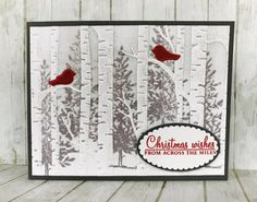 Hi Friends, Today I'm sharing a technique that's been around for a while but never gets old. My friend Lani showed me a gorgeous card she made using the Woodland Embossing Folder and I just had… Stamped Christmas Cards, Simple Christmas Cards, Homemade Christmas Cards, Xmas Cards, Homemade Cards, Handmade Christmas, Holiday Cards, Stampinup Christmas Cards, Scrapbook Christmas Cards