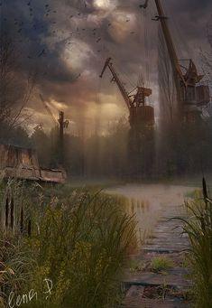 Apocalypse Art, Apocalypse Survival, Roadside Picnic, Dystopian Art, Post Apocalyptic Art, Gaming Wallpapers, Matte Painting, Environment Concept Art, Fantasy Landscape