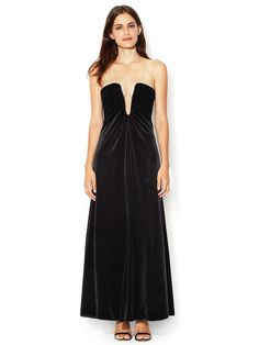 Shaped Bust Sheer Yoke Velvet Gown by Giorgio Armani