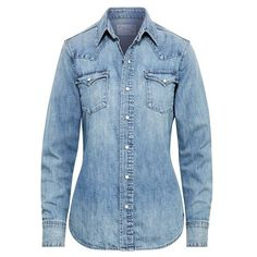 Polo Ralph Lauren Denim Western Shirt ($145) ❤ liked on Polyvore featuring tops, denim, blue long sleeve shirt, blue shirt, denim shirts, denim button-down shirts and america shirts
