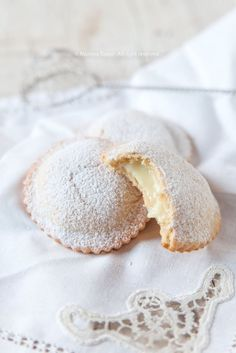 the shortcrust pastries filled with Sicilian lemon cream. the shortcrust pastries filled with Sicilian lemon cream. They are made by Maria Grammatico in her famous Pasticceria in Erica, Sicily. Food To Take Camping List Sicilian Recipes, Pastry Recipes, Cookie Recipes, Dessert Recipes, Sicilian Food, Dinner Recipes, Italian Cake, Italian Cookies, Italian Desserts
