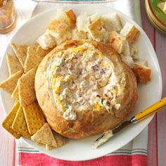 Warm Bacon Cheese Spread Recipe -My friends threaten not to come by unless this dip is on the menu! The rich spread bakes right in the bread bowl and goes well with almost any dipper. Plus, cleanup is a breeze. Appetizer Dips, Yummy Appetizers, Appetizers For Party, Appetizer Recipes, Dip Recipes, Cooking Recipes, Party Recipes, Bread Recipes, Recipies