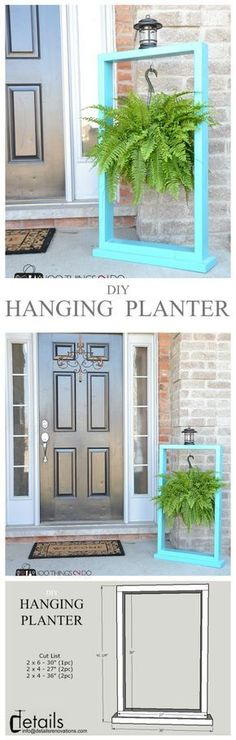 Easy Carpentry Projects - DIY Plant Hanger - easy build that even the kids can do and just in time for , wood plant hanger, wooden stand for hanging plants Easy Carpentry Projects - Get A Lifetime Of Project Ideas and Inspiration! Kids Woodworking Projects, Wood Projects For Kids, Carpentry Projects, Diy Woodworking, Project Ideas, Pallet Projects, Pallet Ideas, Woodworking Organization, Backyard Projects