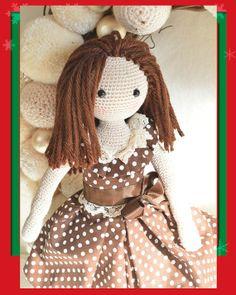 Muñeca de colección, elegante del ganchillo, muñeca niño amistoso amigurumi