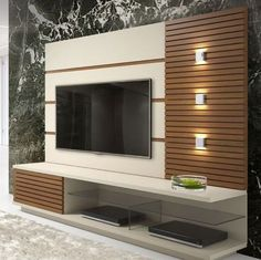 44 Modern TV wall units - unique living room TV ca Tv Unit Decor, Tv Wall Decor, Lcd Wall Design, Design Case, Lcd Unit Design, Living Room Tv Cabinet Designs, Tv Showcase Design, Tv Wanddekor, Tv Wall Cabinets