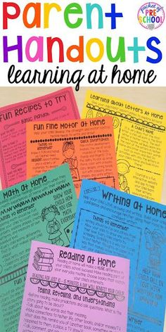 Handouts to keep kids learning at home. Fun easy activities parents can do. Perfect or preschool, pre-k, and kindergarten.Parent Handouts to keep kids learning at home. Fun easy activities parents can do. Perfect or preschool, pre-k, and kindergarten. Parent Teacher Communication, Parent Teacher Conferences, Parent Notes, Parent Involvement Ideas, Parent Night, Parent Resources, Communication Boards, Parent Teacher Conference Forms, Teacher Desks