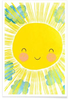 Colourful children's poster of a bright, smiling sun. Behind the sun you can see small clouds passing by. The illustration was m Abc Poster, Alphabet Poster, Batman Poster, World Map Poster, Kids Poster, Poster Prints, Family Poster, Roald Dahl, Sonne Illustration