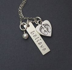 Believe    Hand Stamped Personalized Sterling by GracieAndMeDesign, $47.00