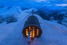 A sauna in the Italian Alps at Monte Lagazuoi. This personal cabin/sauna is approximately 9200 feet high
