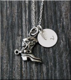 Silver Cowboy Boot Charm Necklace Initial by charmingpixiejewelry