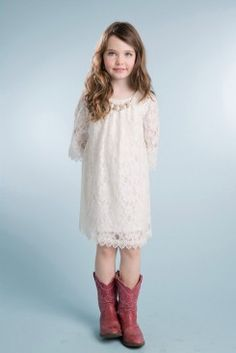 ede9270cdb Ivory Lace Shift Dress  amp  Necklace - Petite Adele Ivory Flower Girl  Dresses