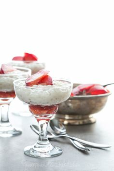 Maple roasted plums are served with a creamy coconut pudding.