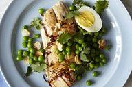 Sauteed Mackerel With Peas, Garlic and Egg.