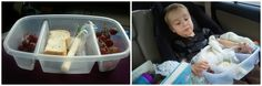 Clever containers that will save your life when traveling with kids, especially small kids. Condiment cups, plastic bathroom cups, divider tupperware, pill sorters, etc.